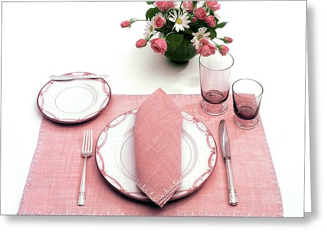 A Pink Table Setting Greeting Card