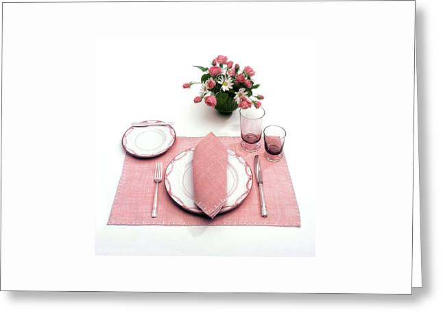 A Pink Table Setting Greeting Card by Haanel Cassidy
