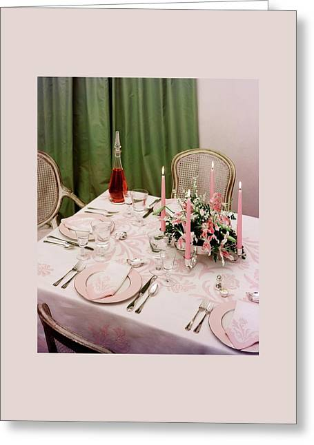 A Pink Table Setting Greeting Card by Otto Maya