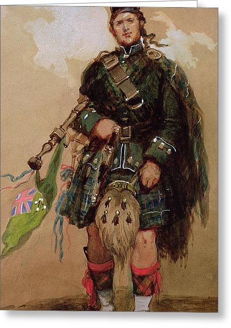 A Piper Of The 79th Highlanders At Chobham Camp Greeting Card by Eugene-Louis Lami