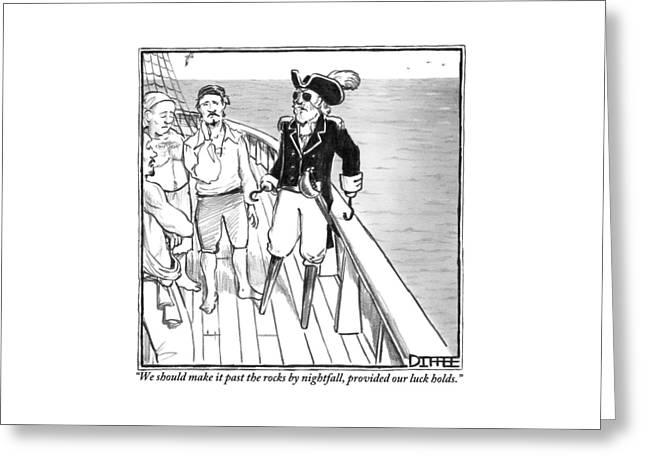 A Pirate Captain Addresses His Crew. He Has Two Greeting Card