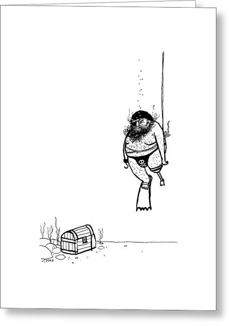 A Pirate Scuba Diver Gets Lowered Down To Recover Greeting Card by Edward Steed