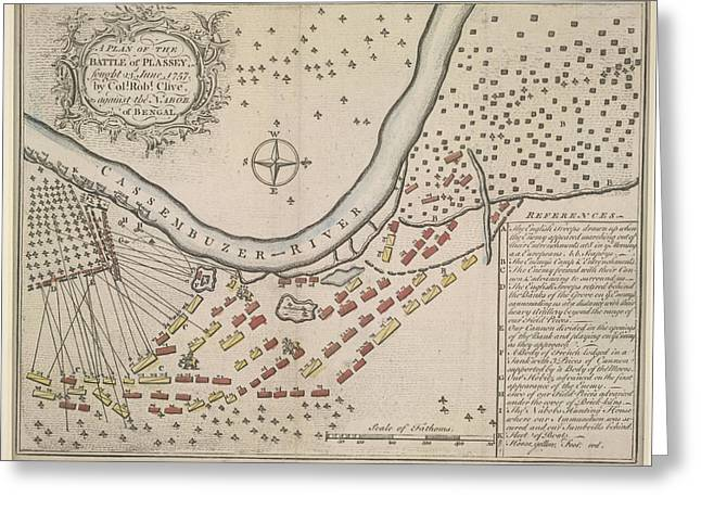 A Plan Of The Battle Of Plassey Greeting Card