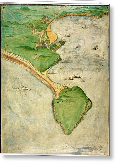 A Plan Of The Island Of Portland Greeting Card