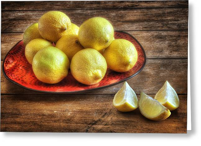A Plate Of Lemons In The Kitchen Greeting Card