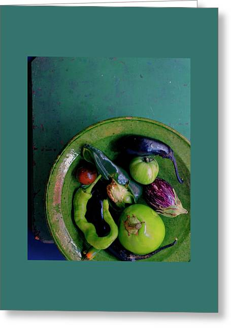 A Plate Of Vegetables Greeting Card by Romulo Yanes