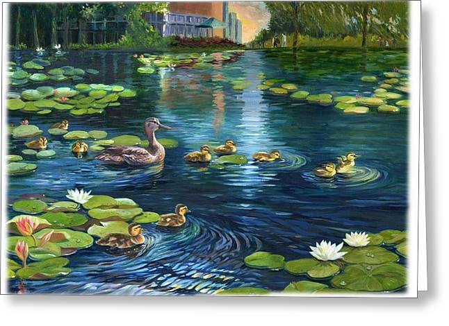 Greeting Card featuring the painting A Plaza For Hope A Place For Life by Ping Yan