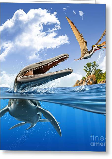A Plesiopleurodon Jumps Greeting Card