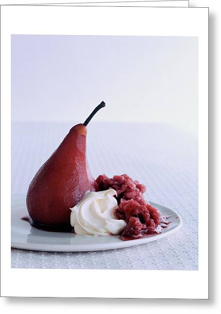 A Poached Pear With Cream Greeting Card