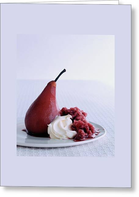 A Poached Pear With Cream Greeting Card by Romulo Yanes