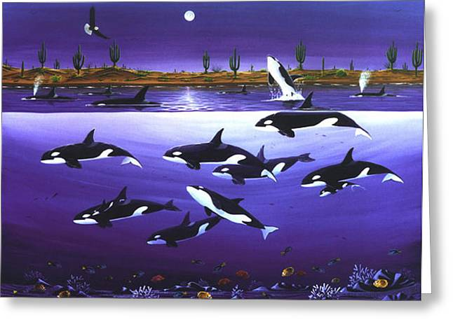 A Pod Of Desert Orcas Greeting Card by Lance Headlee