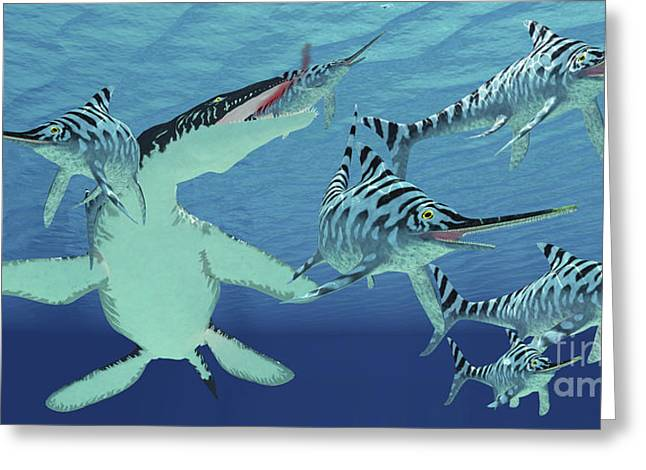 A Pod Of Eurhinosaurus Marine Reptiles Greeting Card