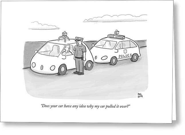 A Police Officer In A Futuristic Smart-car Pulls Greeting Card