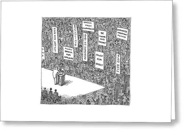 A Politician Stands In Front Of An Audience Greeting Card by John O'Brien