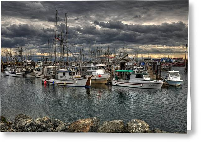 A Port In The Storm Greeting Card by Randy Hall