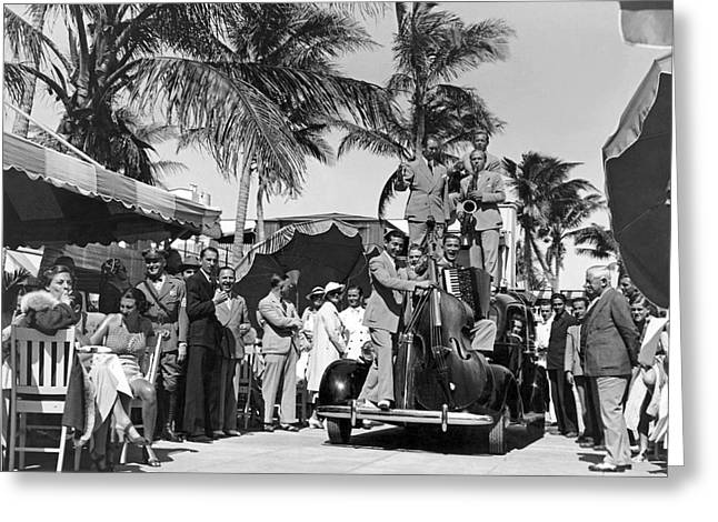 A Portable Jazz Band In Miami Greeting Card by Underwood Archives