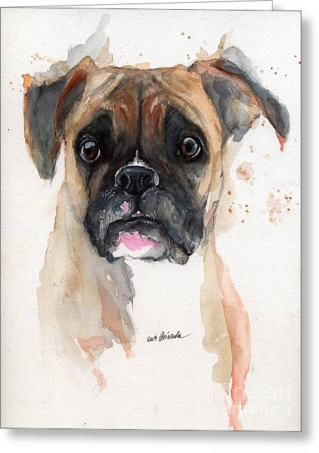 A Portrait Of A Boxer Dog Greeting Card by Angel  Tarantella
