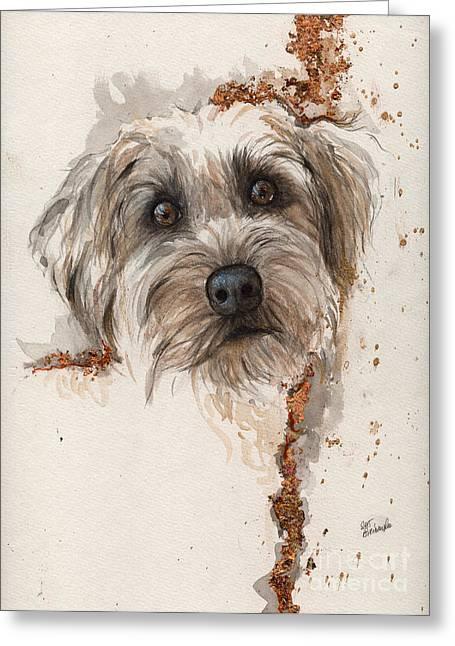A Portrait Of A Dog Greeting Card by Angel  Tarantella