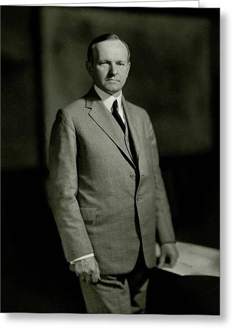 A Portrait Of Calvin Coolidge Greeting Card by Nickolas Muray