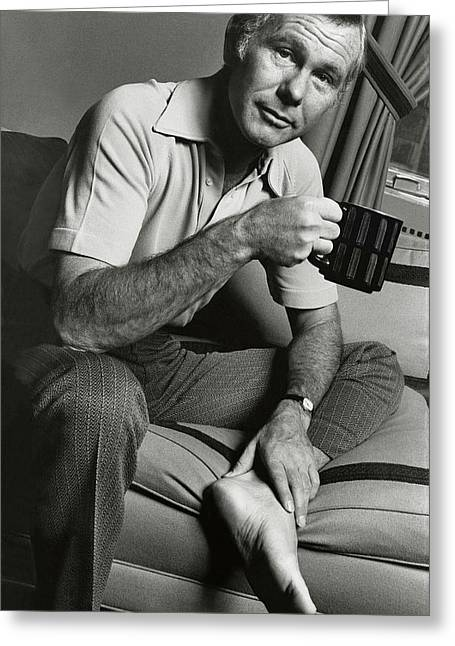 A Portrait Of Johnny Carson Sitting Greeting Card by Bruce Bacon