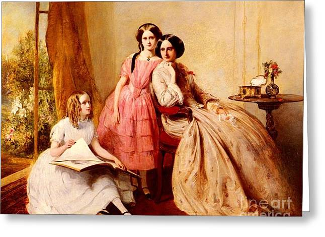 A Portrait Of Two Girls With Their Governess Greeting Card