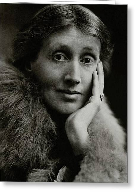 A Portrait Of Virginia Woolf Greeting Card by Maurice Beck & Helen Macgregor