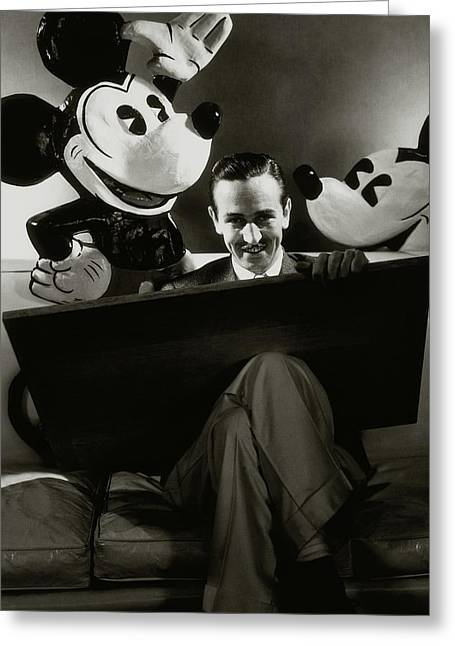 A Portrait Of Walt Disney With Mickey And Minnie Greeting Card by Edward Steichen