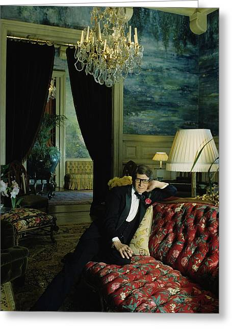A Portrait Of Yves Saint Laurent At His Home Greeting Card by Horst P. Horst