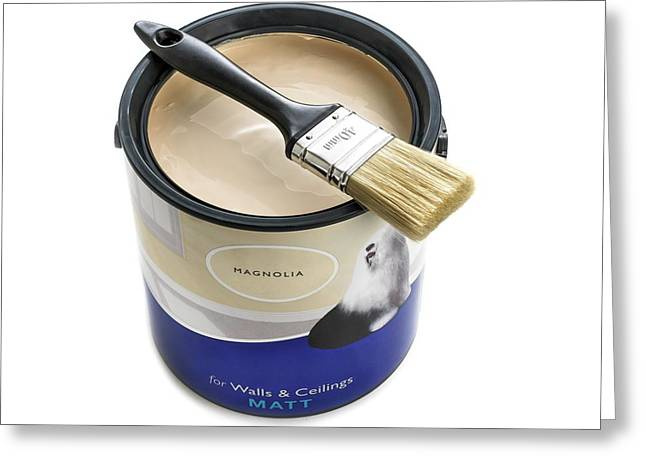 A Pot Of Emulsion Paint Greeting Card by Science Photo Library