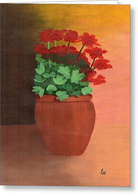 A Pot Of Geraniums Greeting Card by Bav Patel