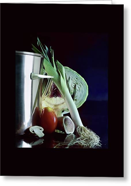 A Pot With Assorted Vegetables Greeting Card by Fotiades