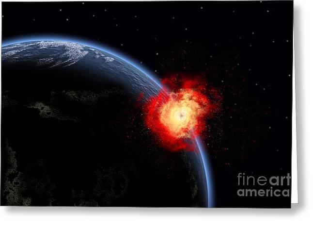 A Powerful Explosion On Earths Surface Greeting Card by Mark Stevenson