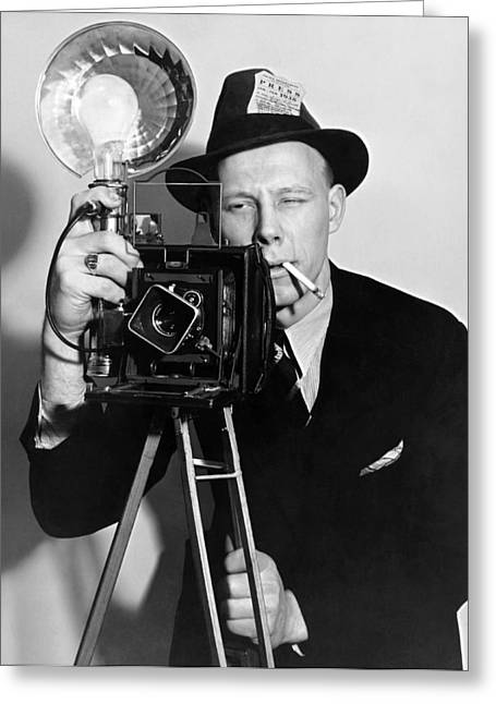 A Press Photographer Greeting Card by Underwood Archives