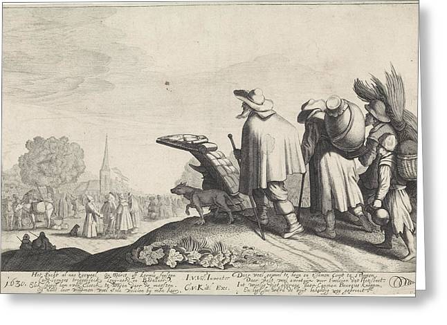 A Procession Of Tramps On The Way To The Market Or Fair Greeting Card by Jan Van De Velde (ii)