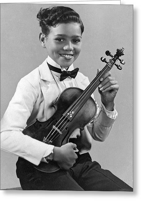 A Proud And Elegant Violinist Greeting Card by Underwood Archives