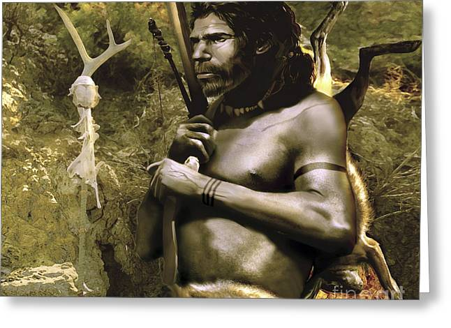 A Proud Neanderthal Hunter From Neander Greeting Card