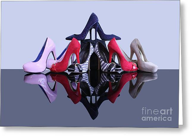 A Pyramid Of Shoes Greeting Card by Terri Waters