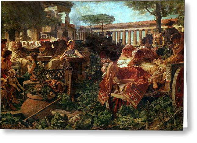 A Pythagorean School Invaded By Sybarites, 1887 Oil On Canvas Greeting Card by Michele Tedesco