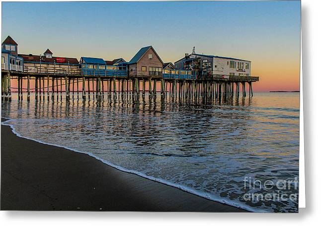 A Quiet Evening At The Pier Greeting Card by Joe Faragalli