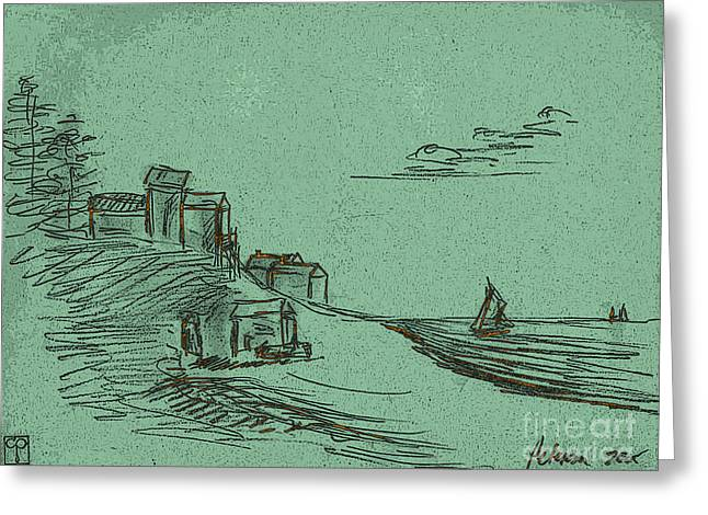A Quiet Knoll Along The Sea With Sailboats And Clouds. Green Scape Greeting Card by Cathy Peterson