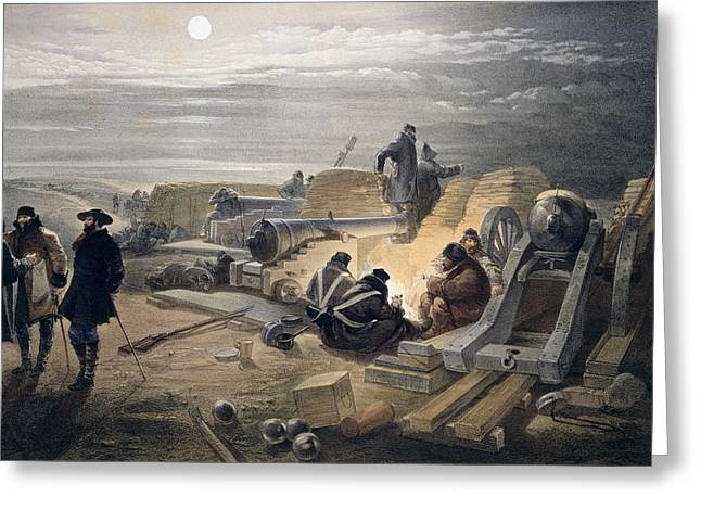 A Quiet Night In The Batteries, Plate Greeting Card by William 'Crimea' Simpson