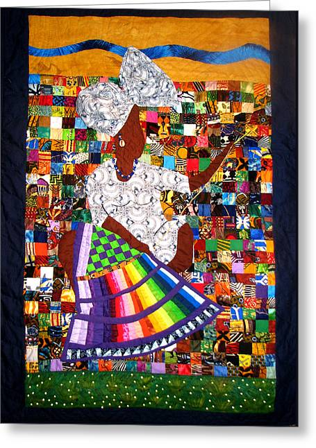 A Quilter's Dream Greeting Card by Aisha Lumumba