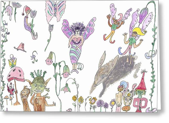 A Rabbit And Some Fairies Greeting Card by Helen Holden-Gladsky