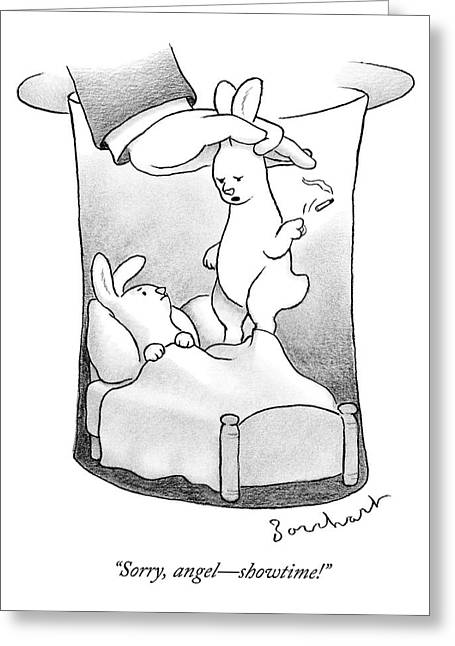 A Rabbit Is Being Pulled Out Of A Hat Greeting Card