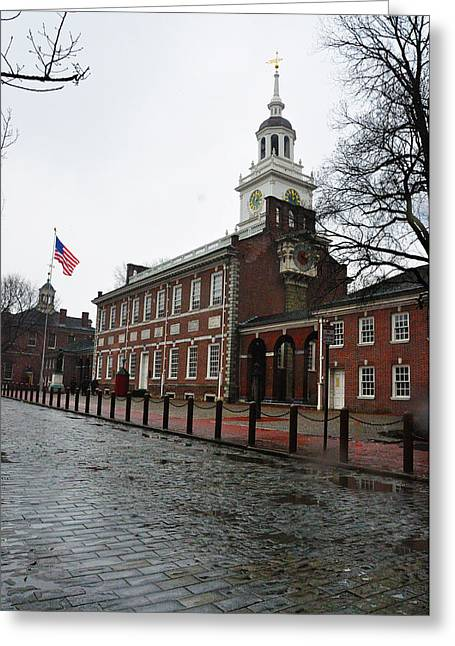 A Rainy Day At Independence Hall Greeting Card by Bill Cannon