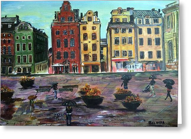 A Rainy Day In Gamla Stan Stockholm Greeting Card