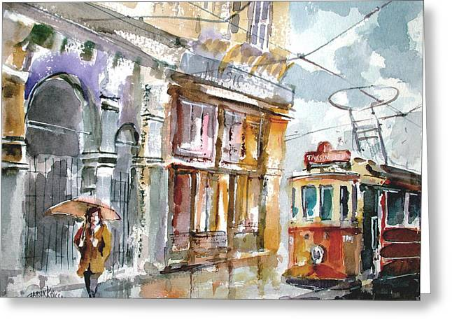 Greeting Card featuring the painting A Rainy Day In Istanbul by Faruk Koksal