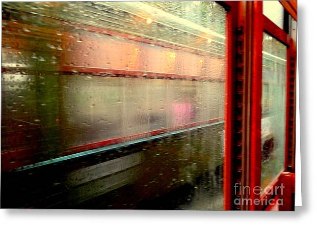 New Orleans Rainy Day Ride On The St. Charles Avenue Street Car In Louisiana Greeting Card