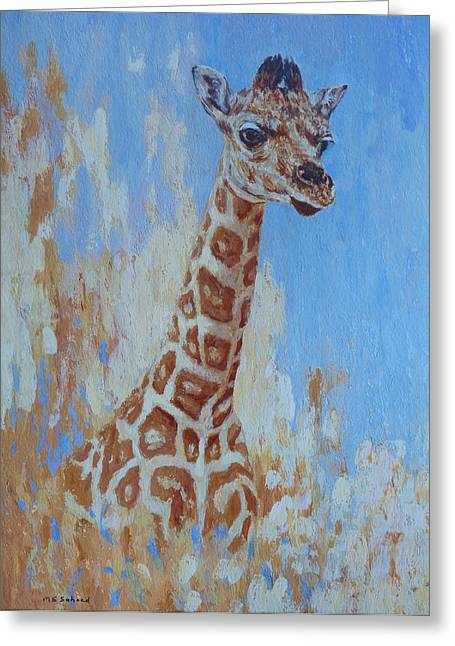 Greeting Card featuring the painting A Rare Giraffe by Margaret Saheed