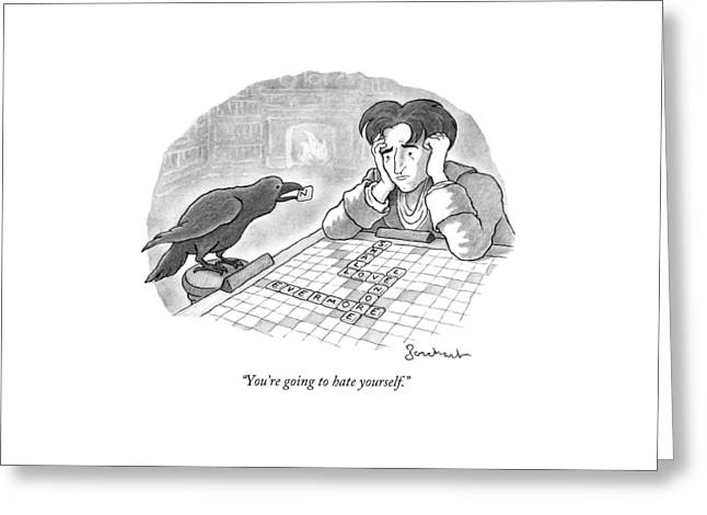 A Raven Is About To Add An N To The Word Evermore Greeting Card by David Borchart